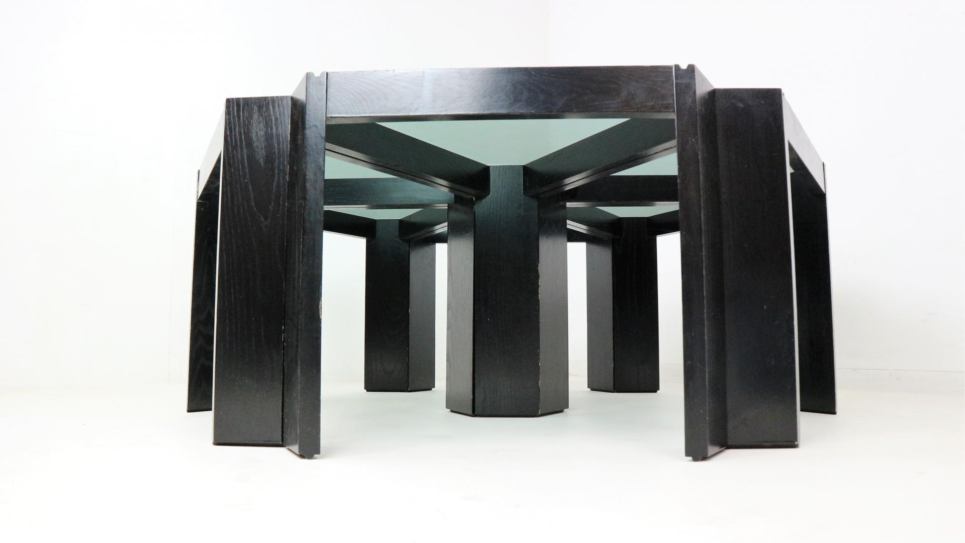 Geometric Stackable Nesting Tables Porada Arredi 1970s
