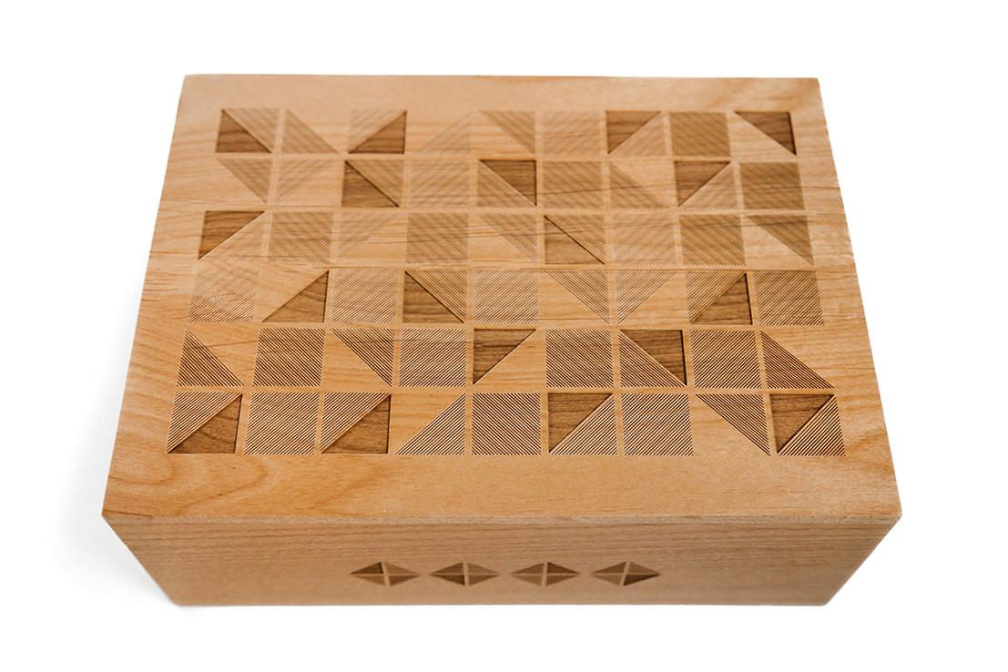 Geometric Tiles Design Wood Keepsake Box 5th Fifth Five
