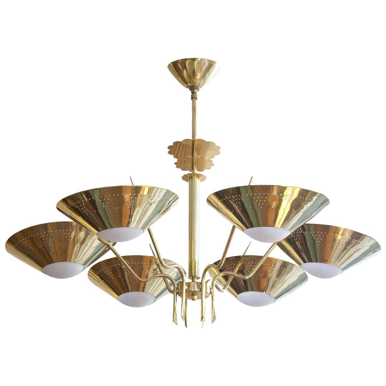 German Mid Century Brass Chandelier 1stdibs