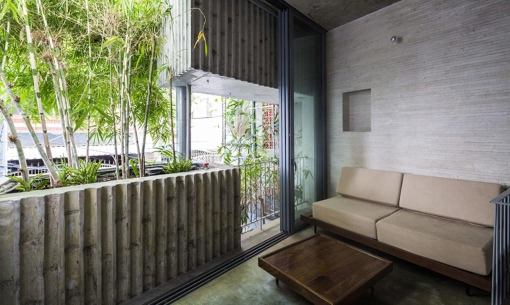 Giant Bamboo Planters Protect Chi Minh City Home
