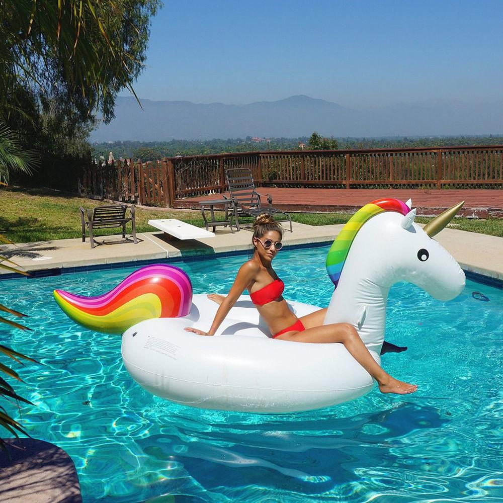 Giant Inflatable Unicorn Rainbow Pool Water Float Adults
