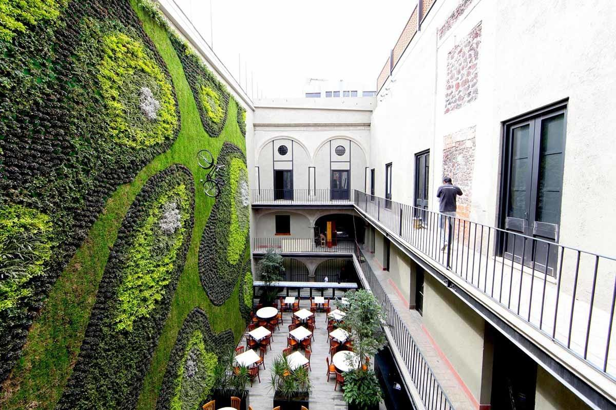 Giant Vertical Garden Adds Life Mexico City Hotel