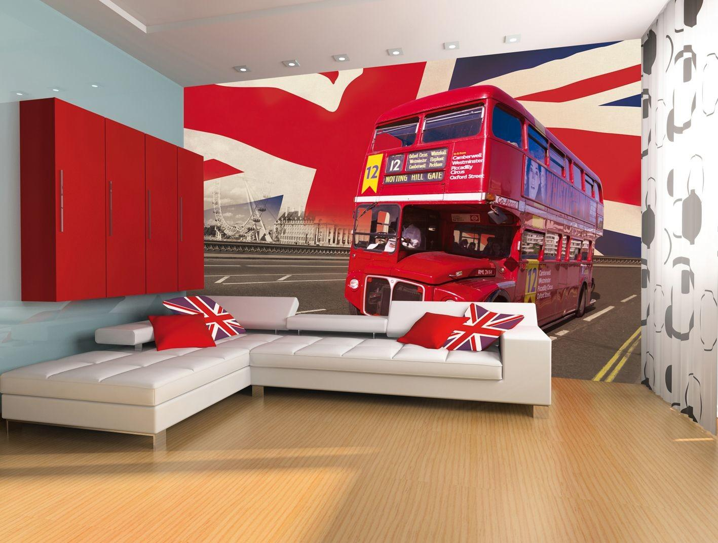 Giant Wall Mural London Bus Union Jack Theme Design