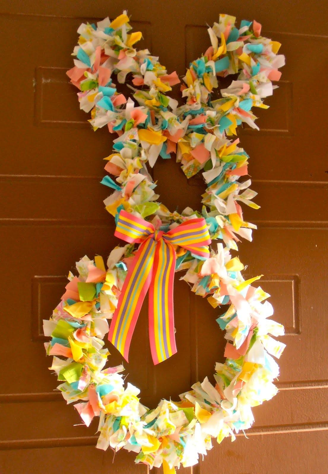 Giggleberry Creations Fabric Scrap Easter Bunny Wreath Diy