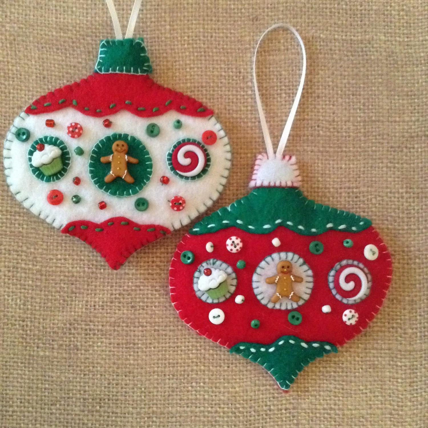Gingerbread Felt Ornaments Christmas Handmade