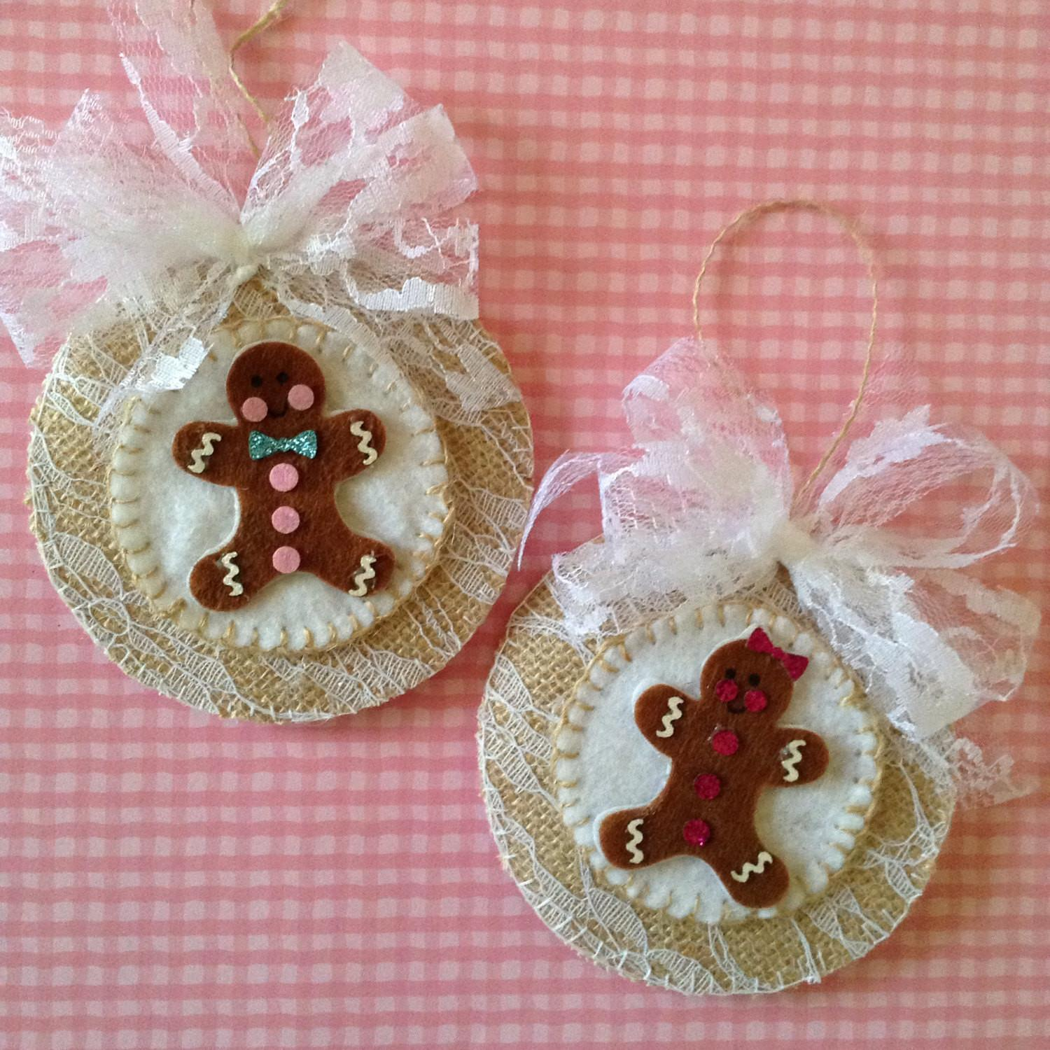 Gingerbread Felt Ornaments Set Handmade Design