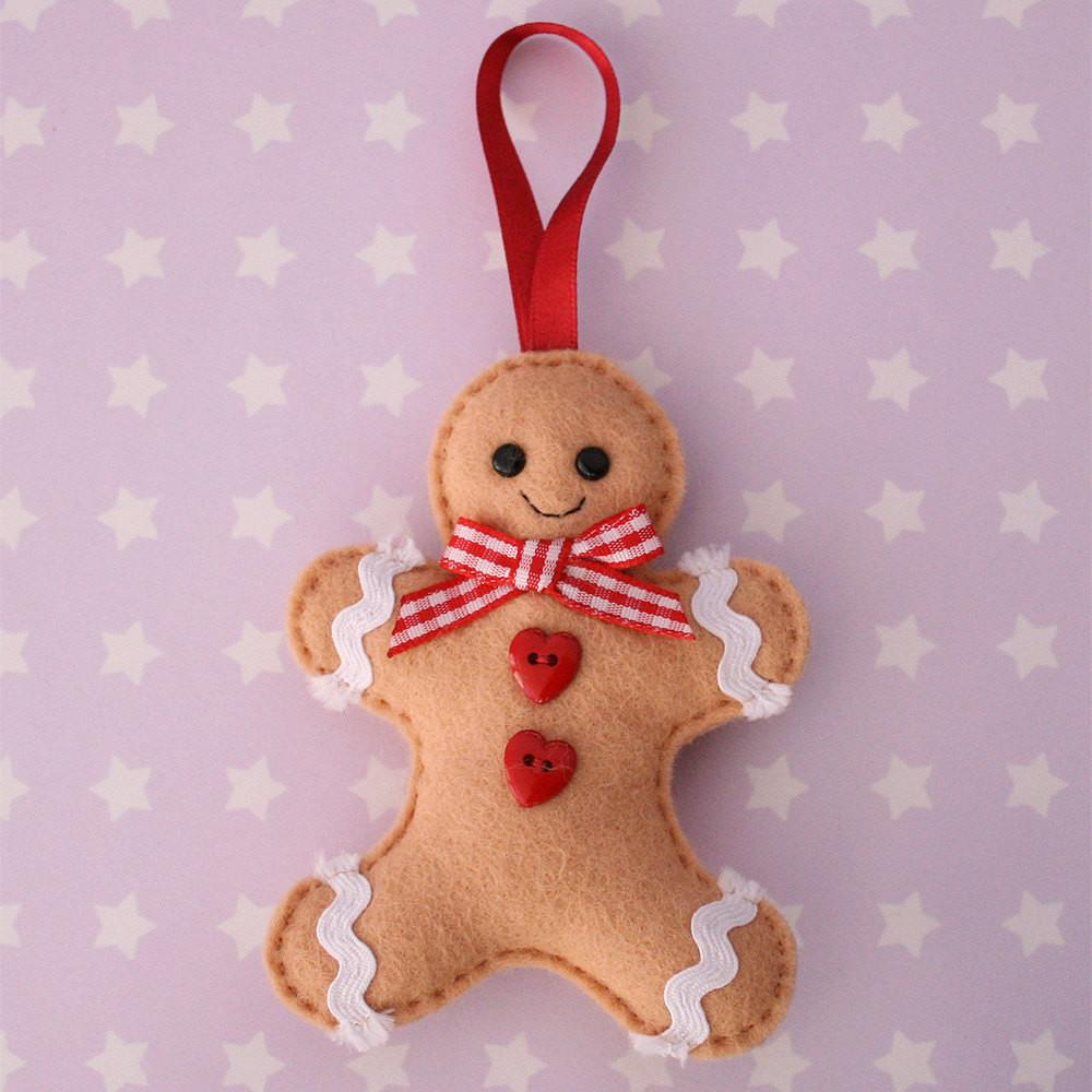 Gingerbread Man Felt Tree Ornament Hannahdoodle Etsy