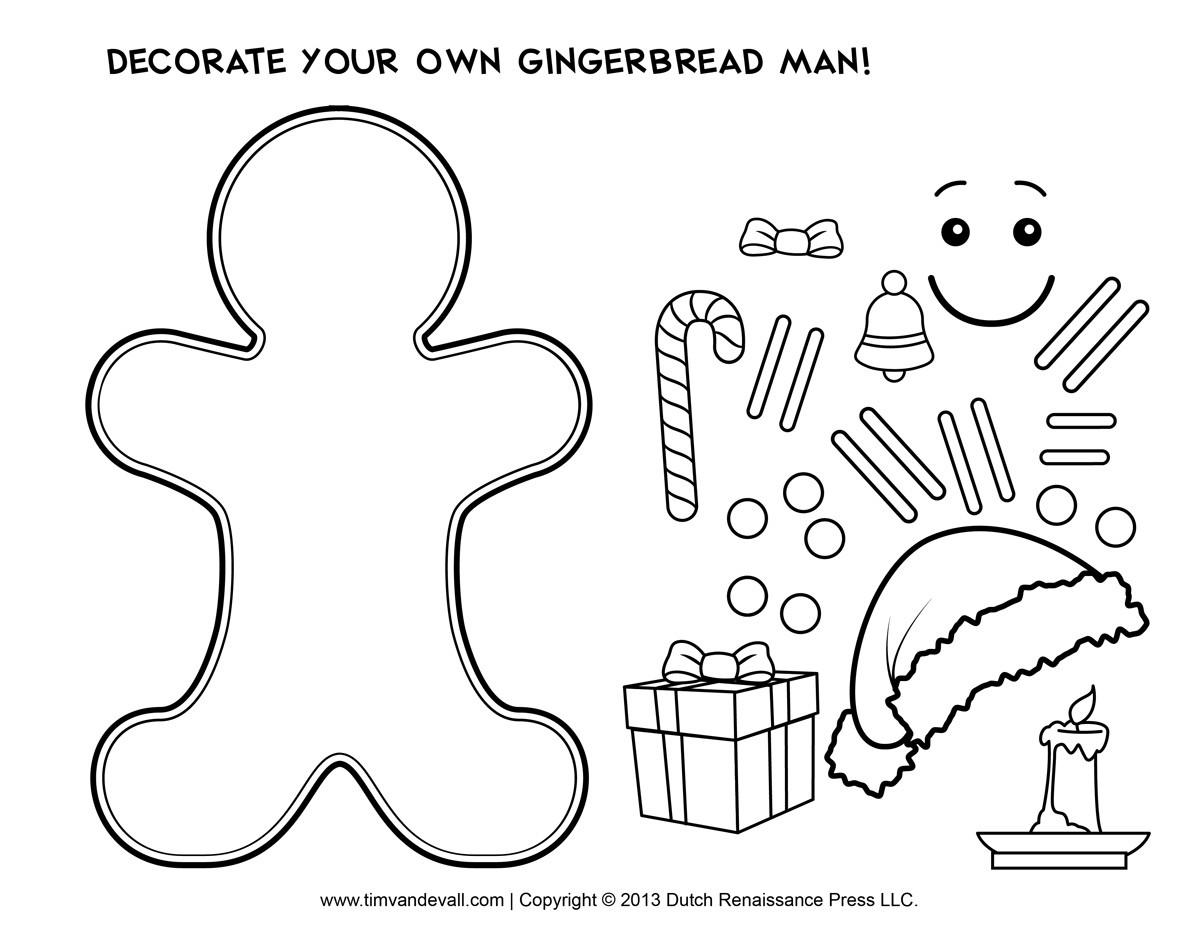 Gingerbread Man Template Clipart Coloring Kids