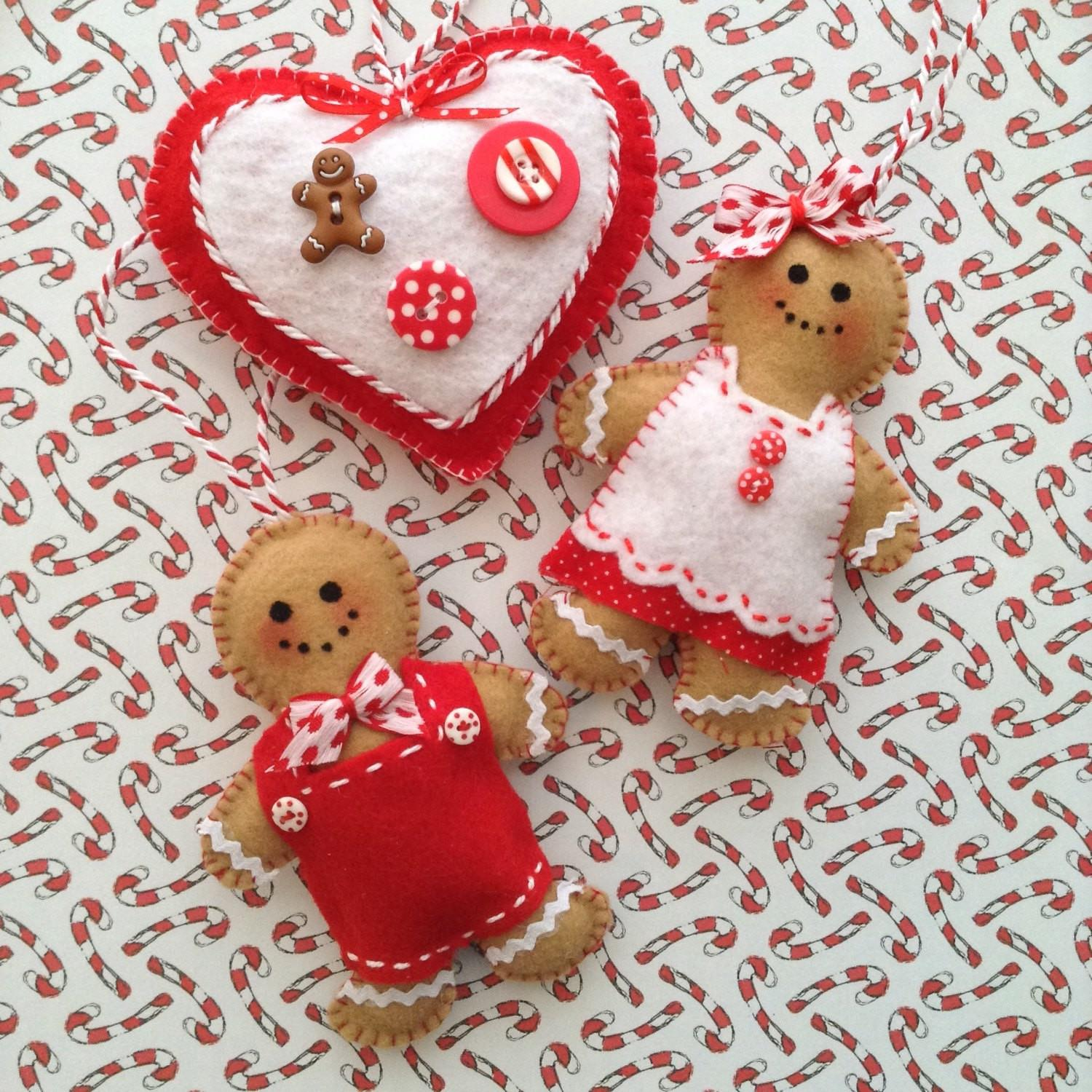 Gingerbread Ornaments Christmas Felt
