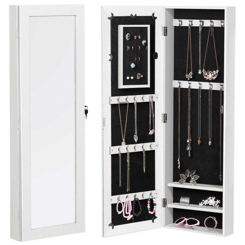 Girl Lockable Wall Mount Mirrored Jewelry Cabinet