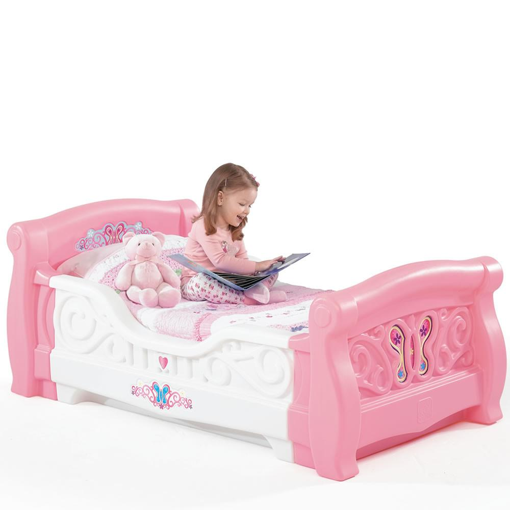 Girl Toddler Sleigh Bed Kids Furniture Step2