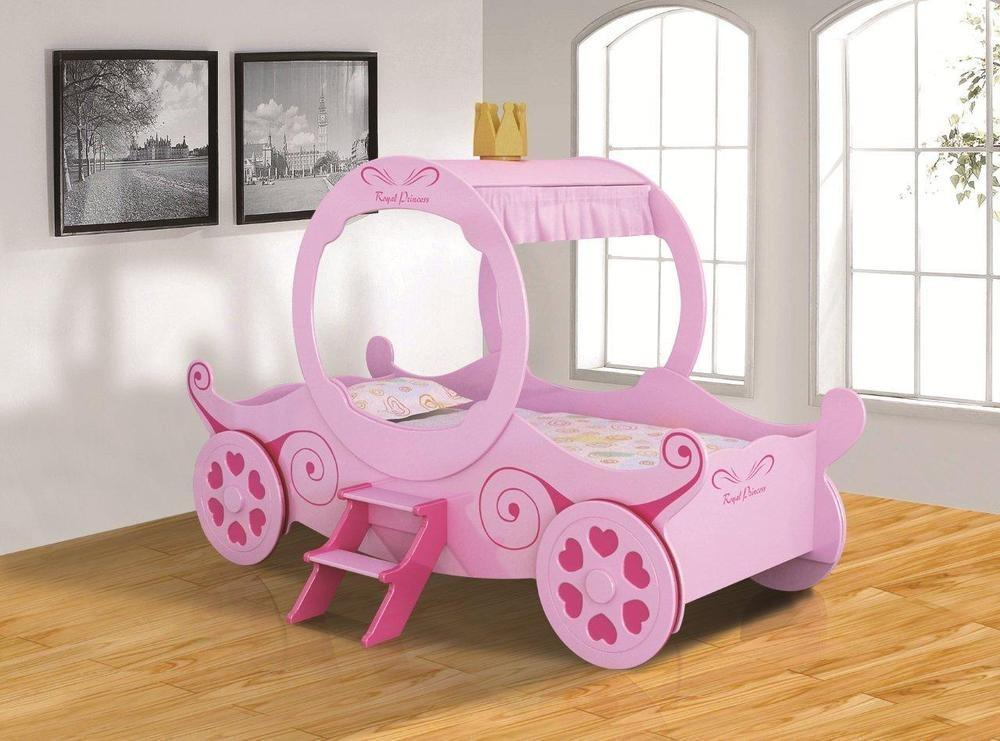 Girls Kids New Princess Carriage Bed 3ft Single Pink