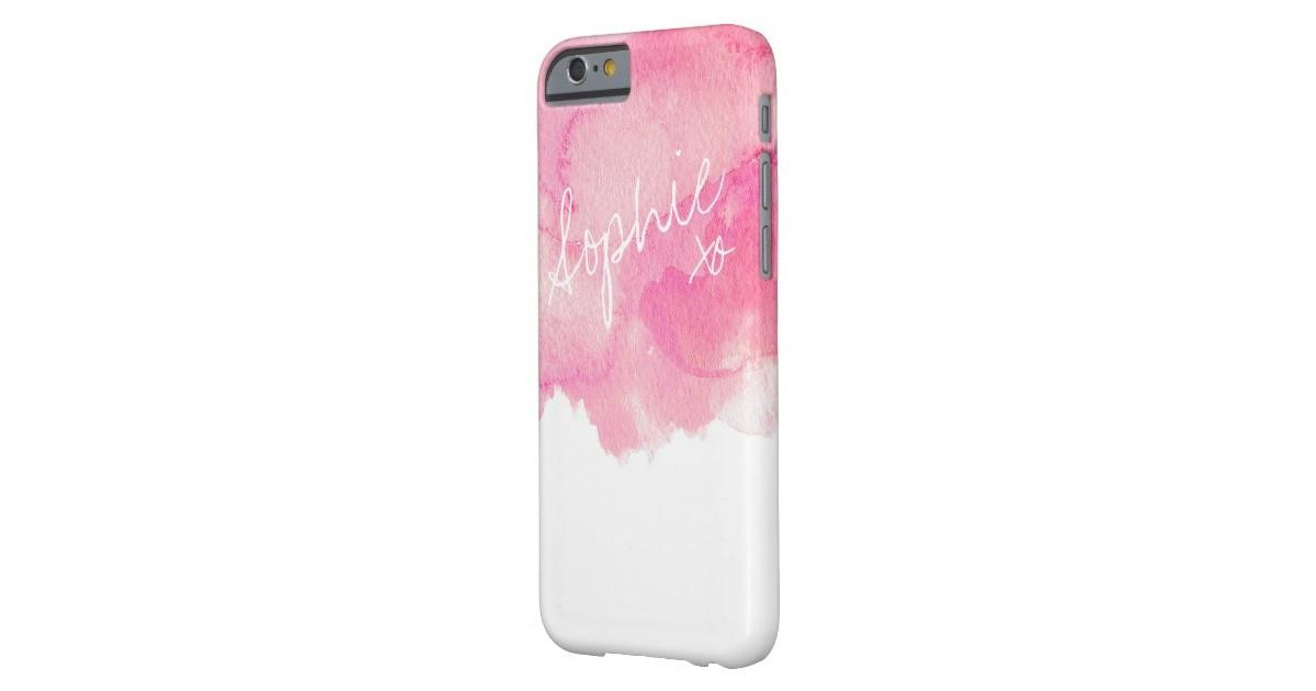 Girly Pink Modern Customizable Watercolor Painting Barely