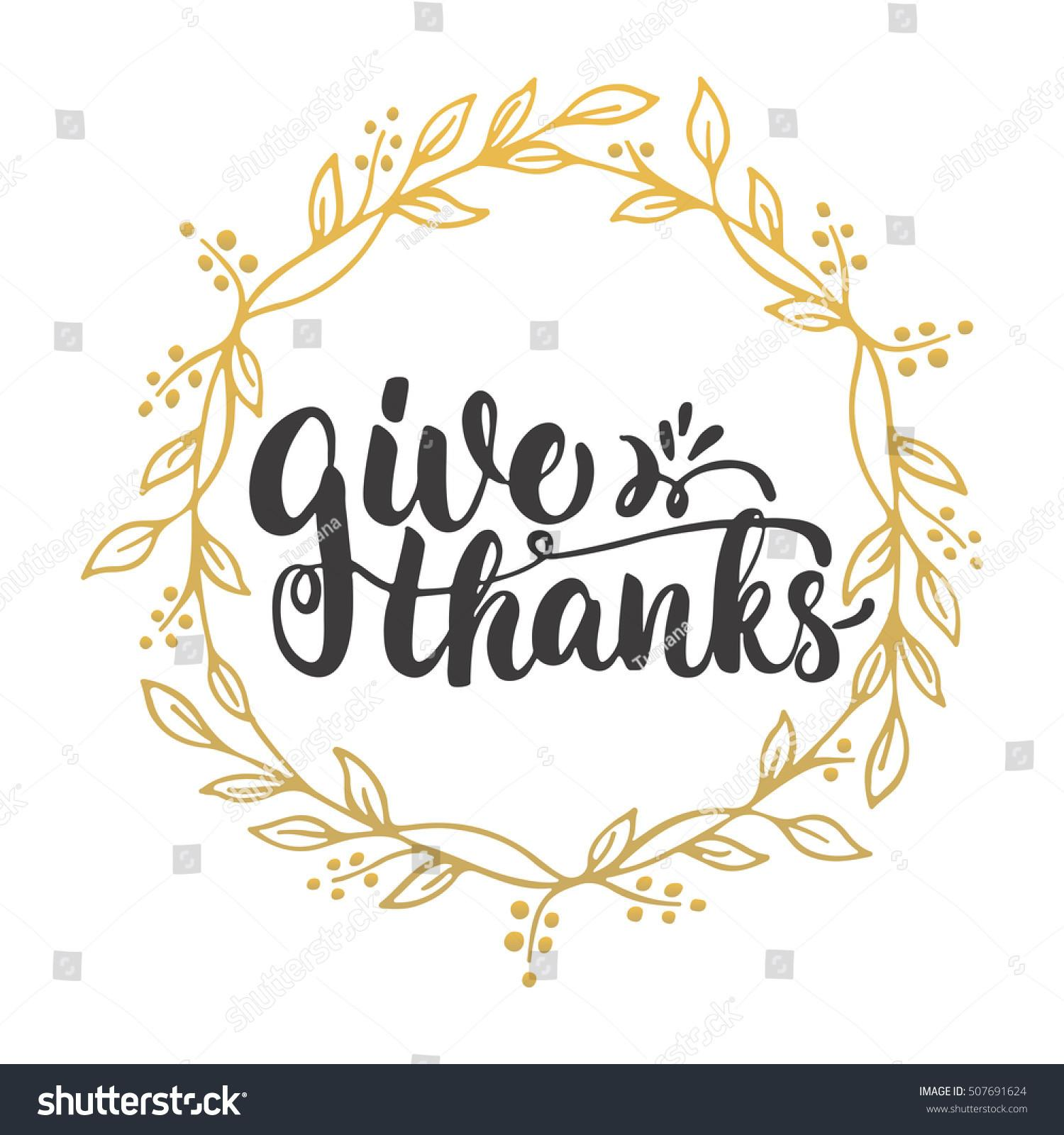 Give Thanks Lettering Calligraphy Phrase Leaves Stock