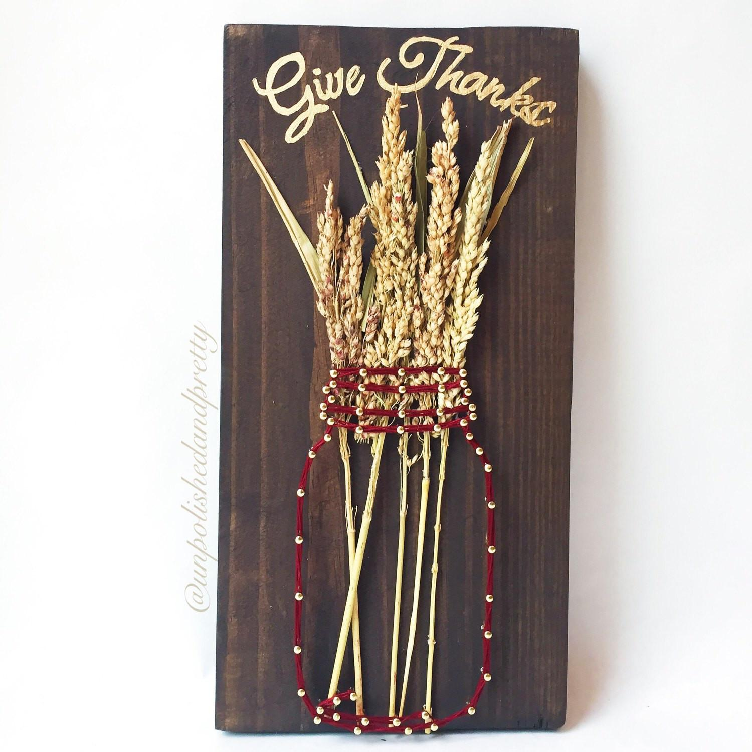 Give Thanks Mason Jar String Art Fall Decor