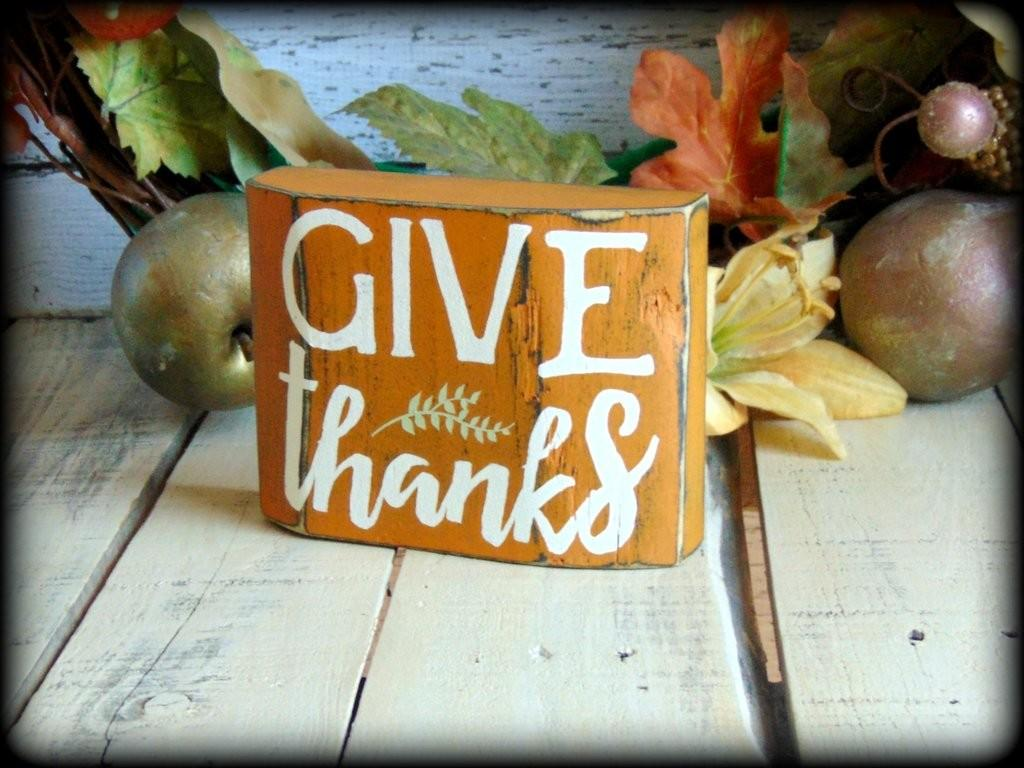 Give Thanks Rustic Wooden Block Shelf Sitter