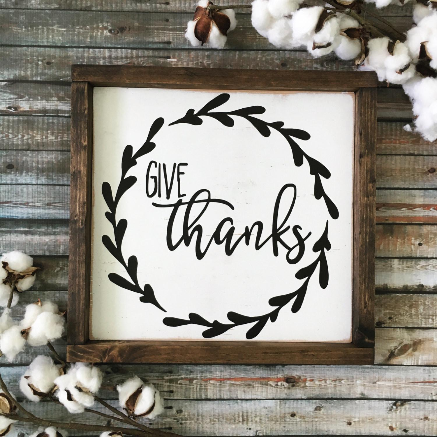 Give Thanks Sign Fall Rustic Wood Thanksgiving