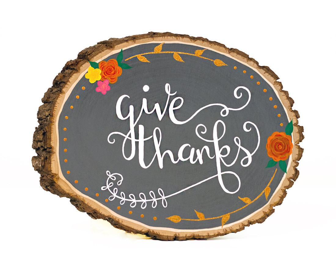Give Thanks Sign Fall Wood Thanksgiving Rustic
