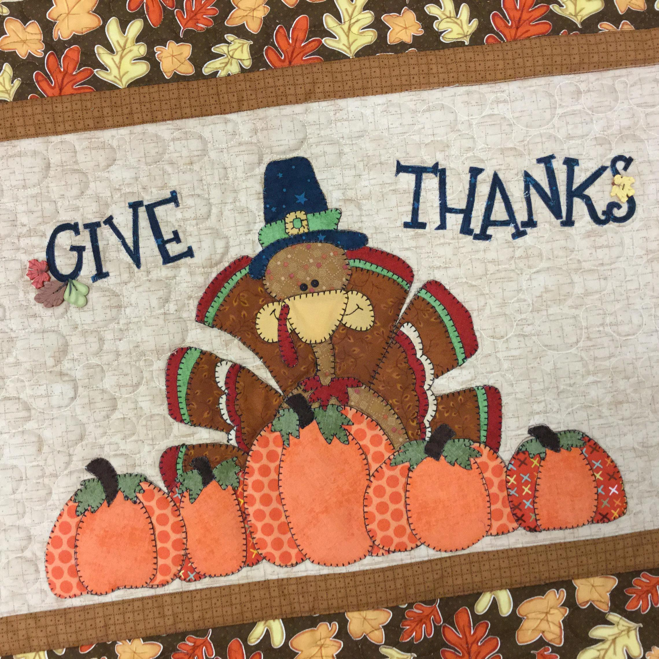 Give Thanks Turkey Table Runner Laser Cut Kit Stitches