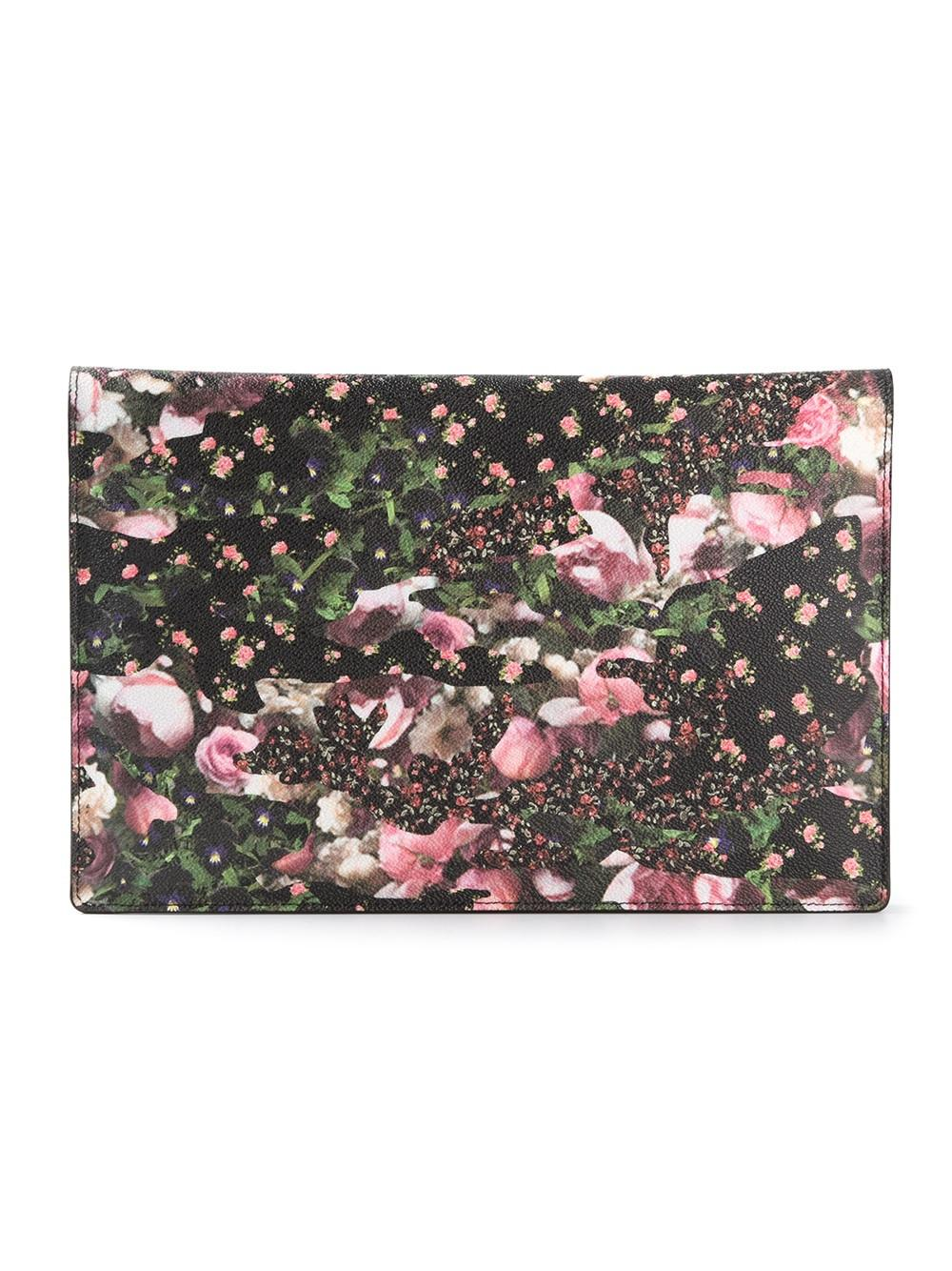 Givenchy Floral Print Flap Clutch Pink Lyst
