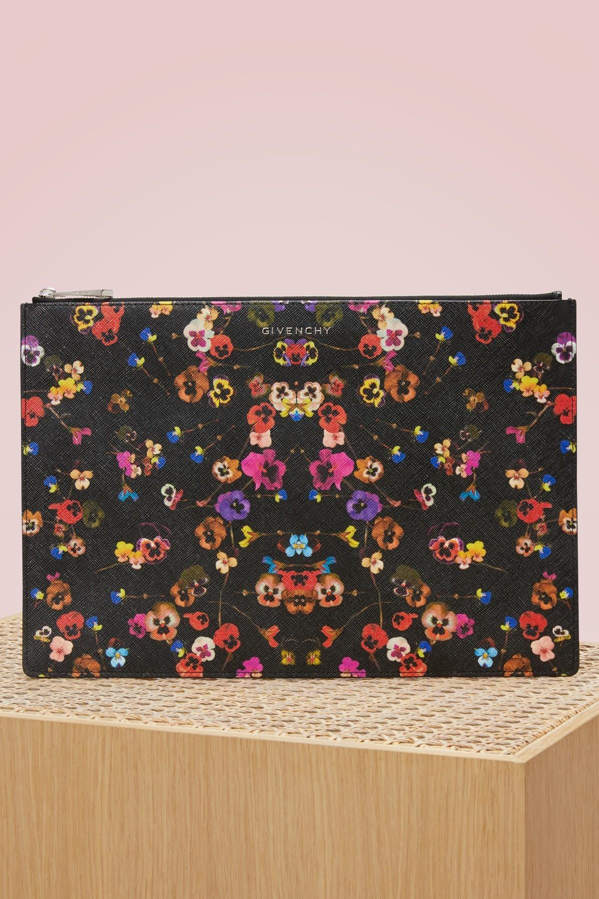 Givenchy Iconic Floral Print Clutch Multicolored Modesens