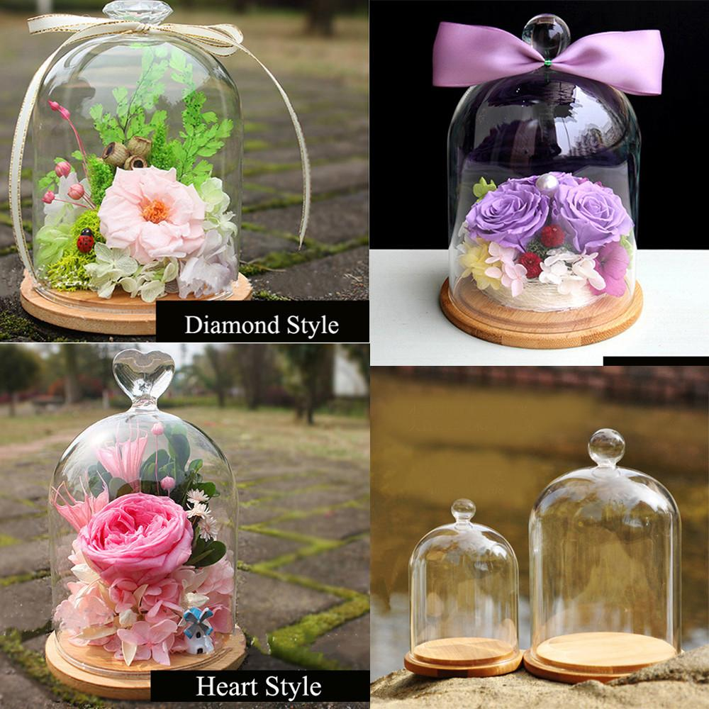 Glass Doll Dome Bamboo Base 9cm 14cm Wedding