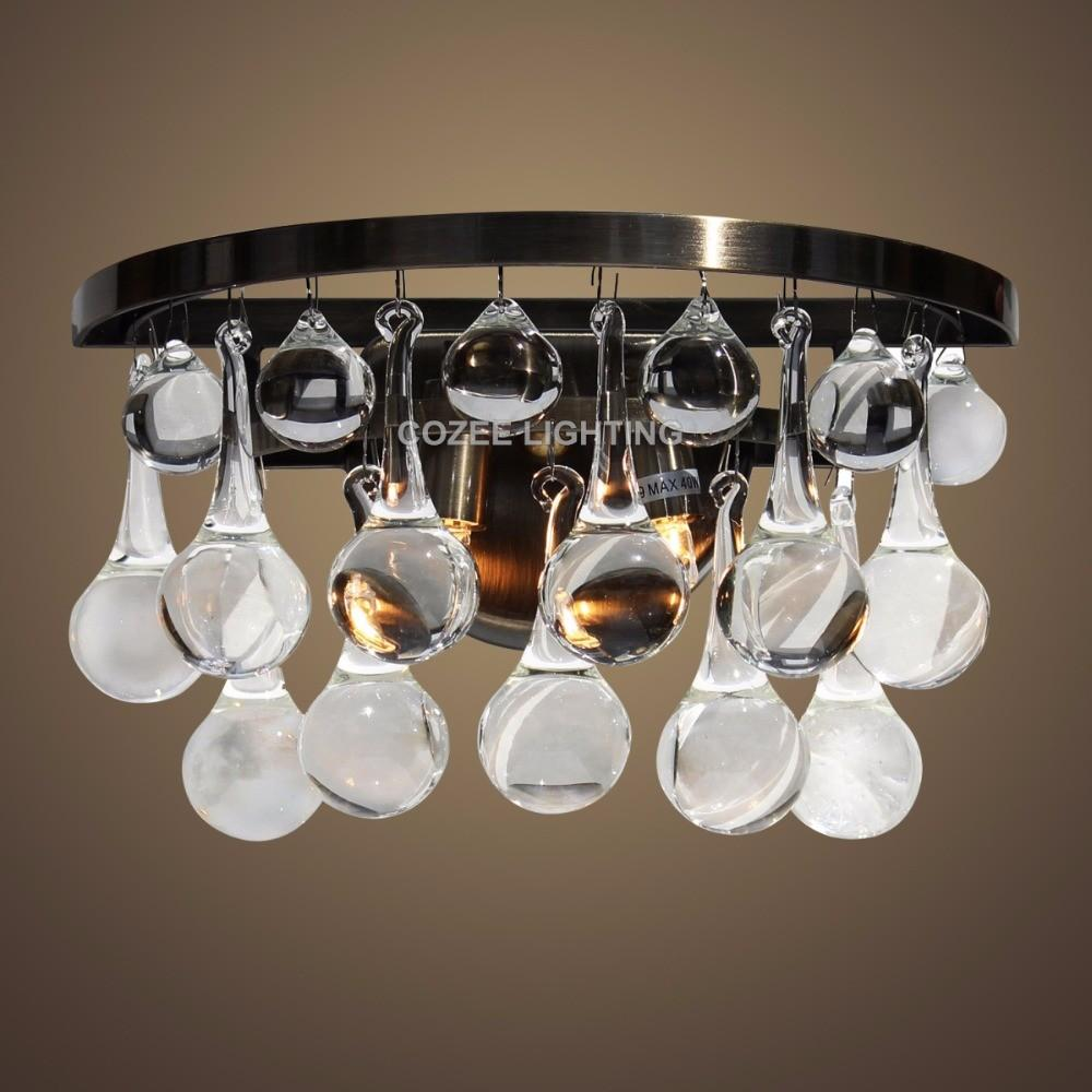 Glass Drop Crystal Wall Sconce Lamp Antique Brass