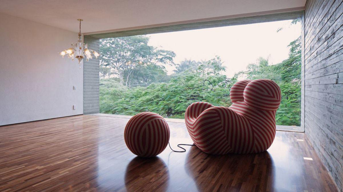 Glass Wall Red White Striped Chair Concrete House