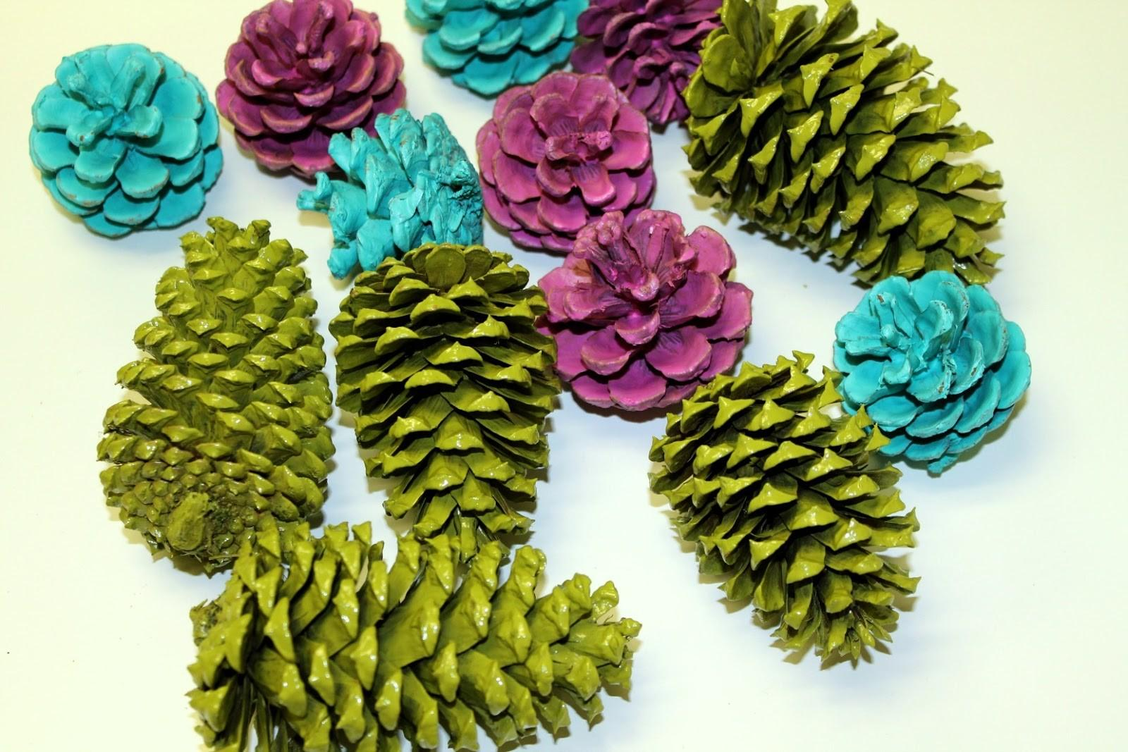Gleeful Peacock Painted Pine Cone Garland Diy