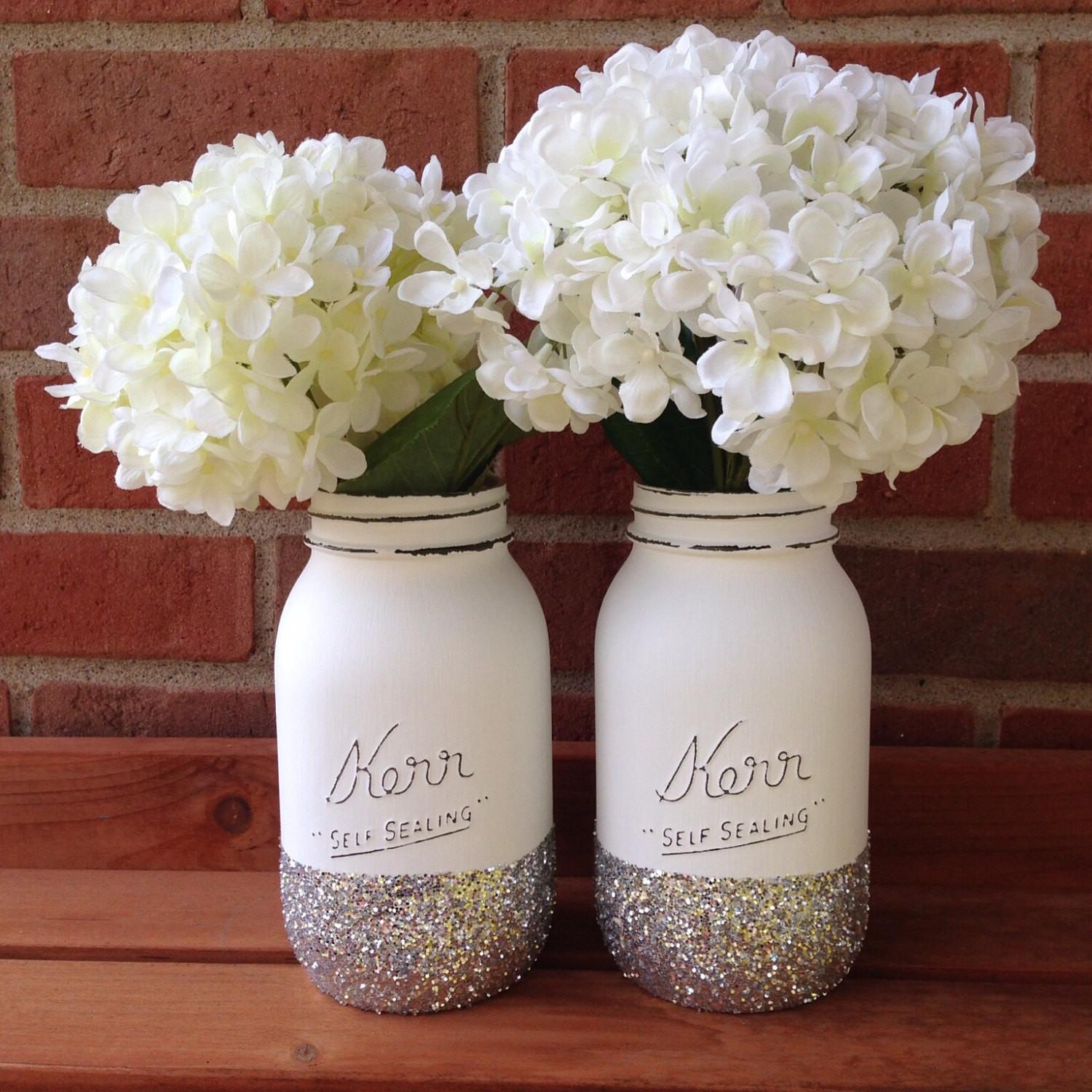 Glitter Mason Jar Christmas Wedding