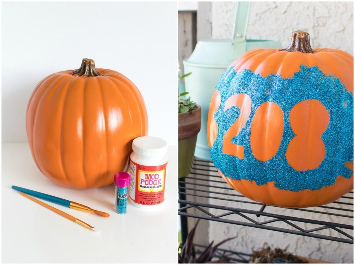 Glittery Diy House Number Pumpkin Mod Podge Rocks