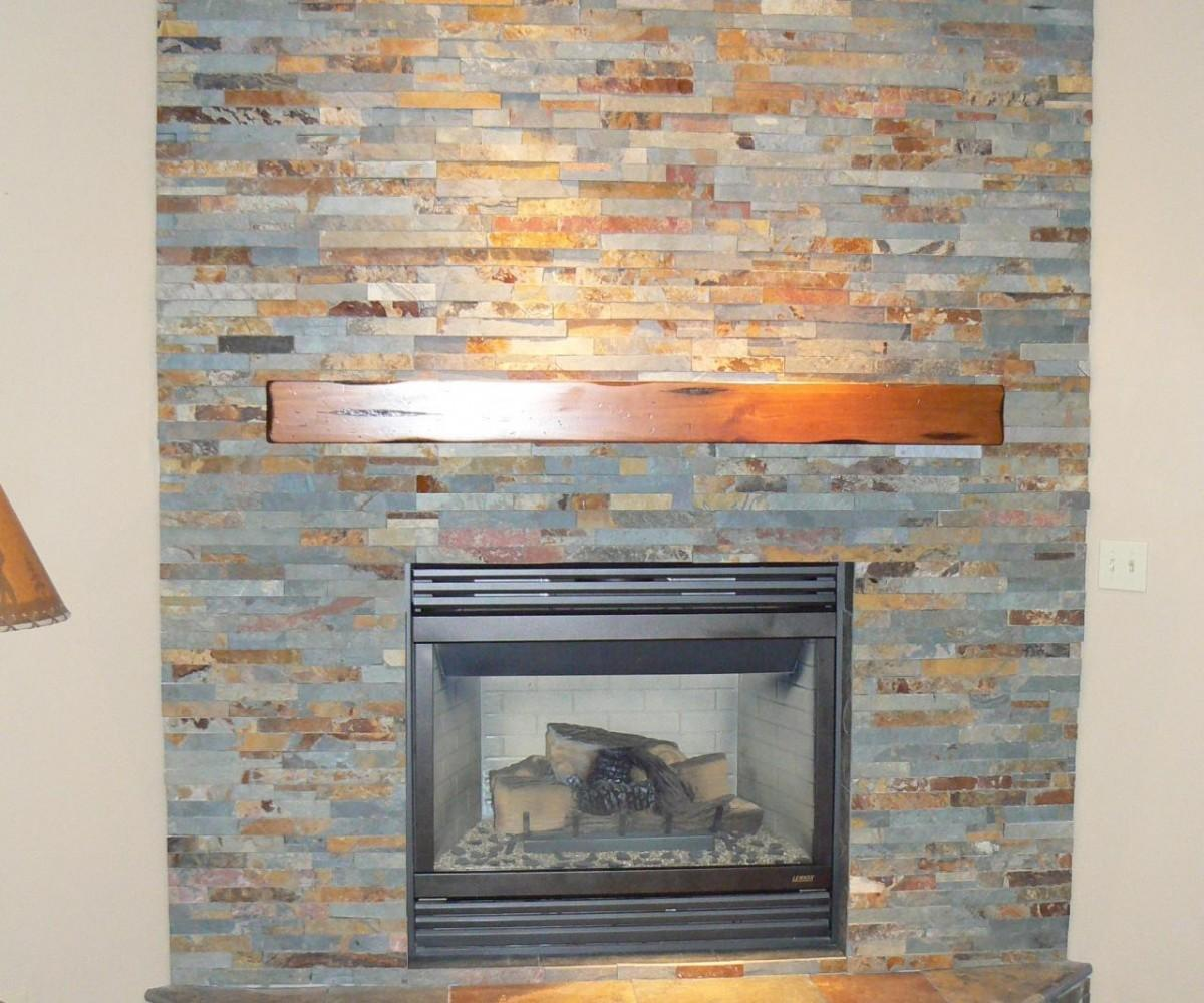Glomorous Simplistic Wooden Stacked Stone Fireplace Mantel