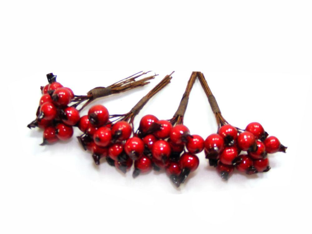 Glossy Red Berries Christmas Decorating Stems