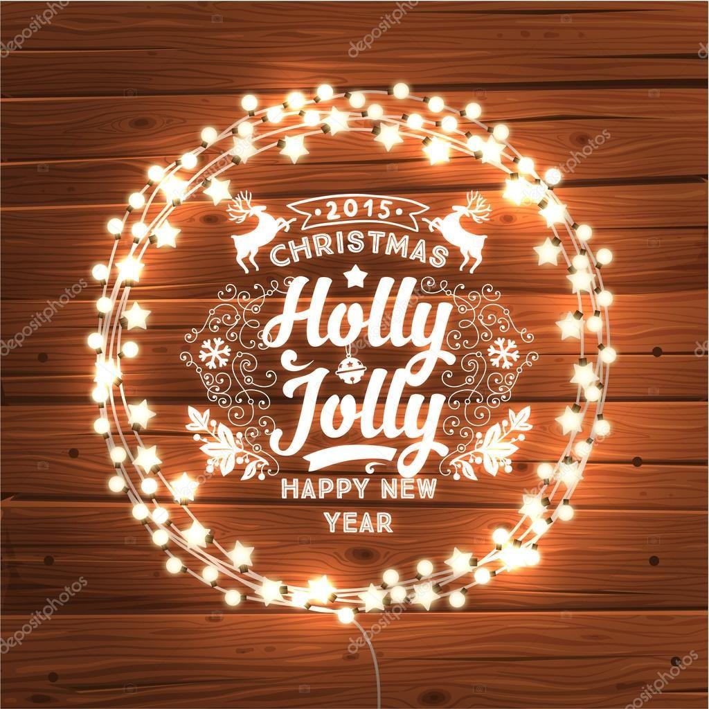 Glowing Christmas Lights Wreath Stock Vector Ozerina