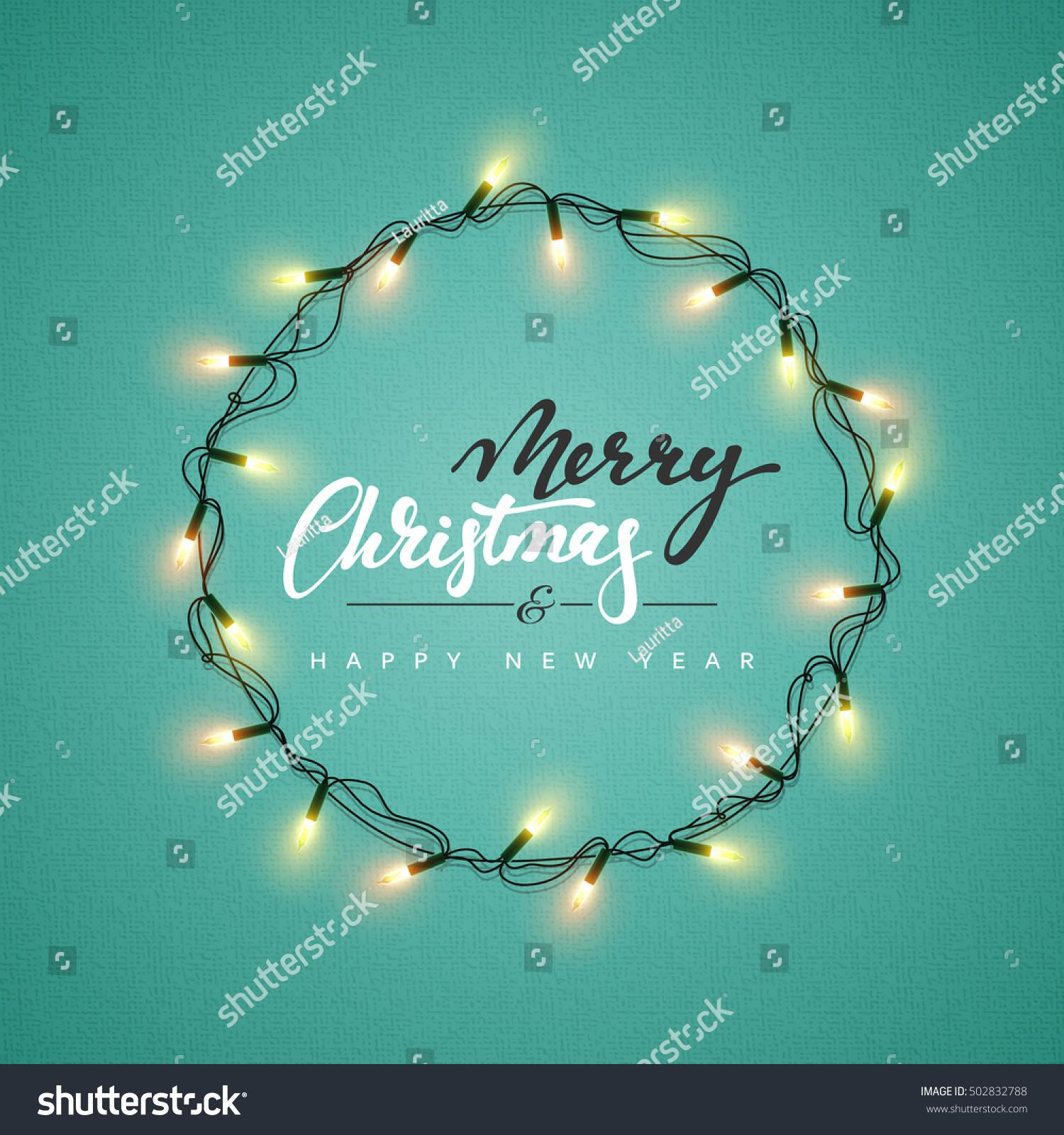 Glowing Christmas Lights Wreath Xmas Holiday Stock Vector