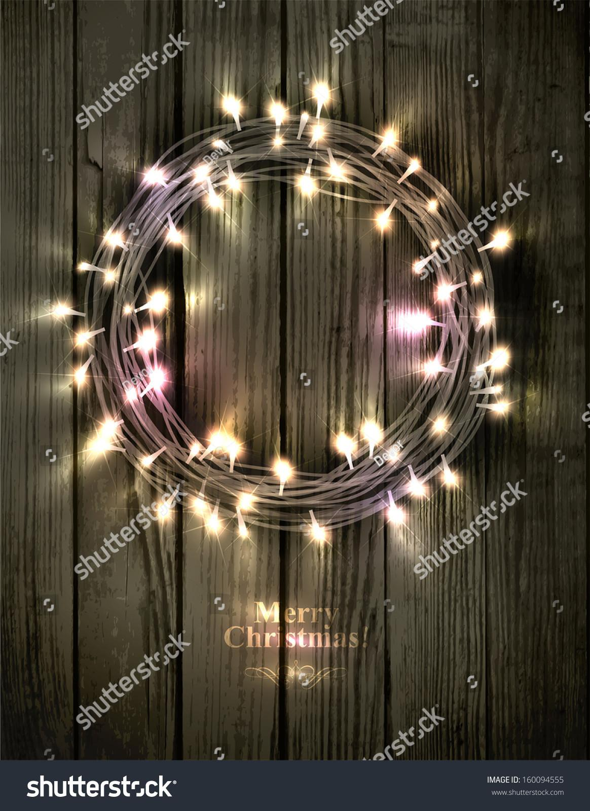 Glowing Christmas Wreath Made Led Lights Stock Vector