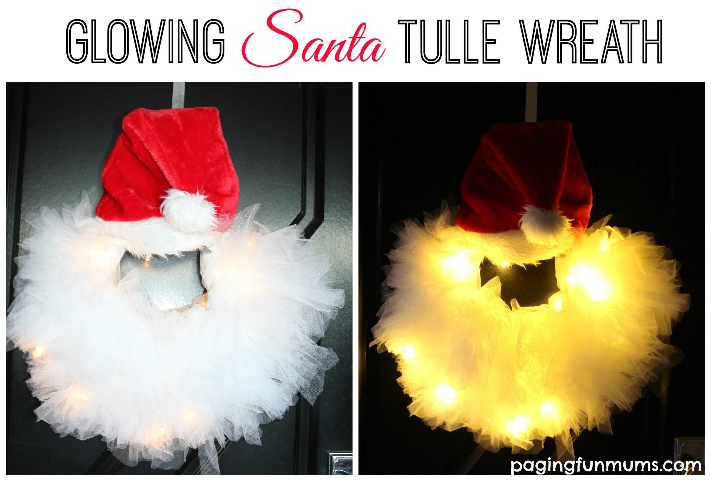 Glowing Santa Tulle Wreath