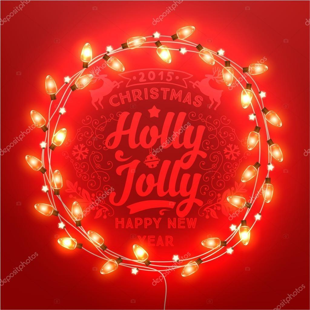 Glowing White Christmas Lights Wreath Stock Vector
