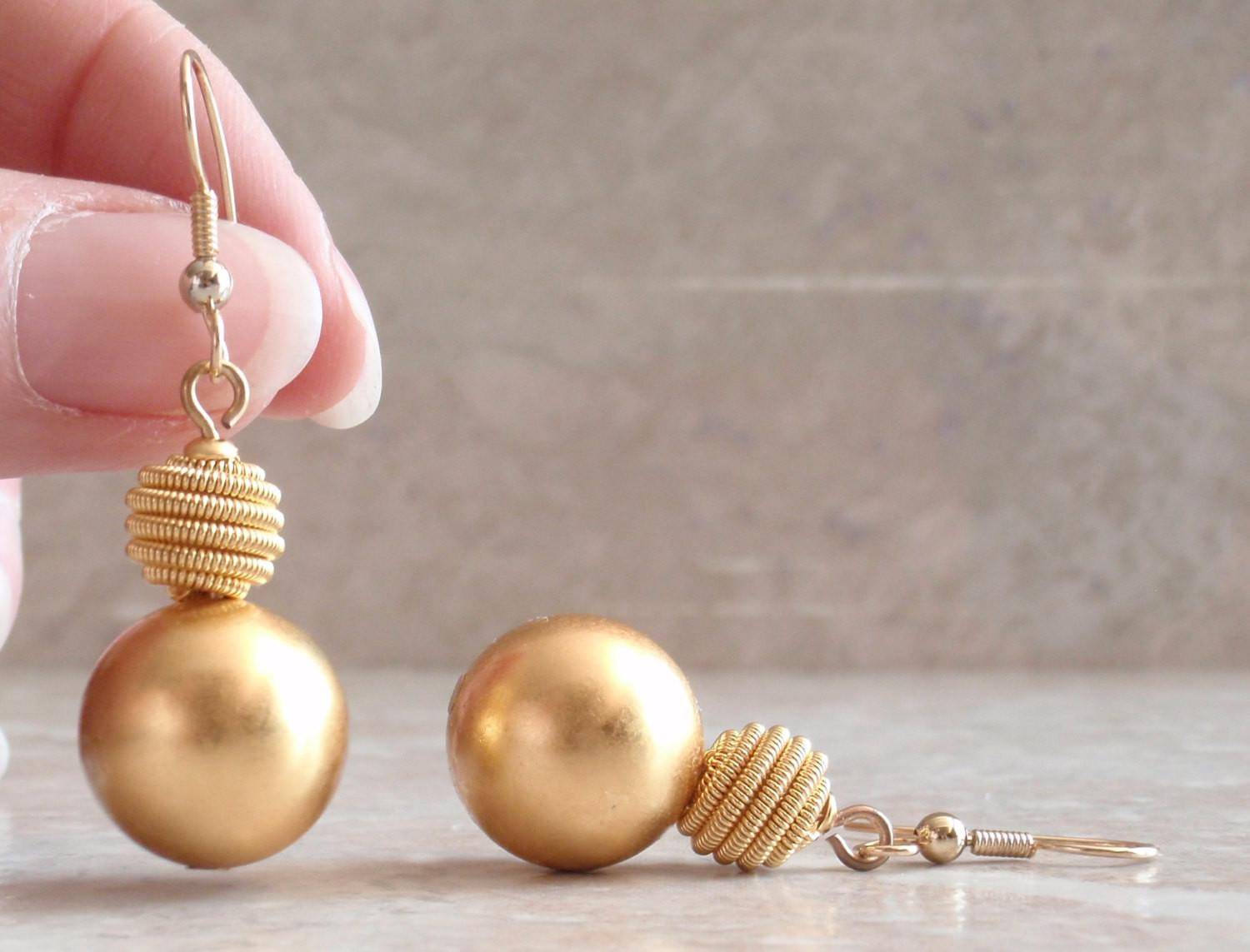 Gold Ball Earrings Drop Dangle Shiny Coiled Wire