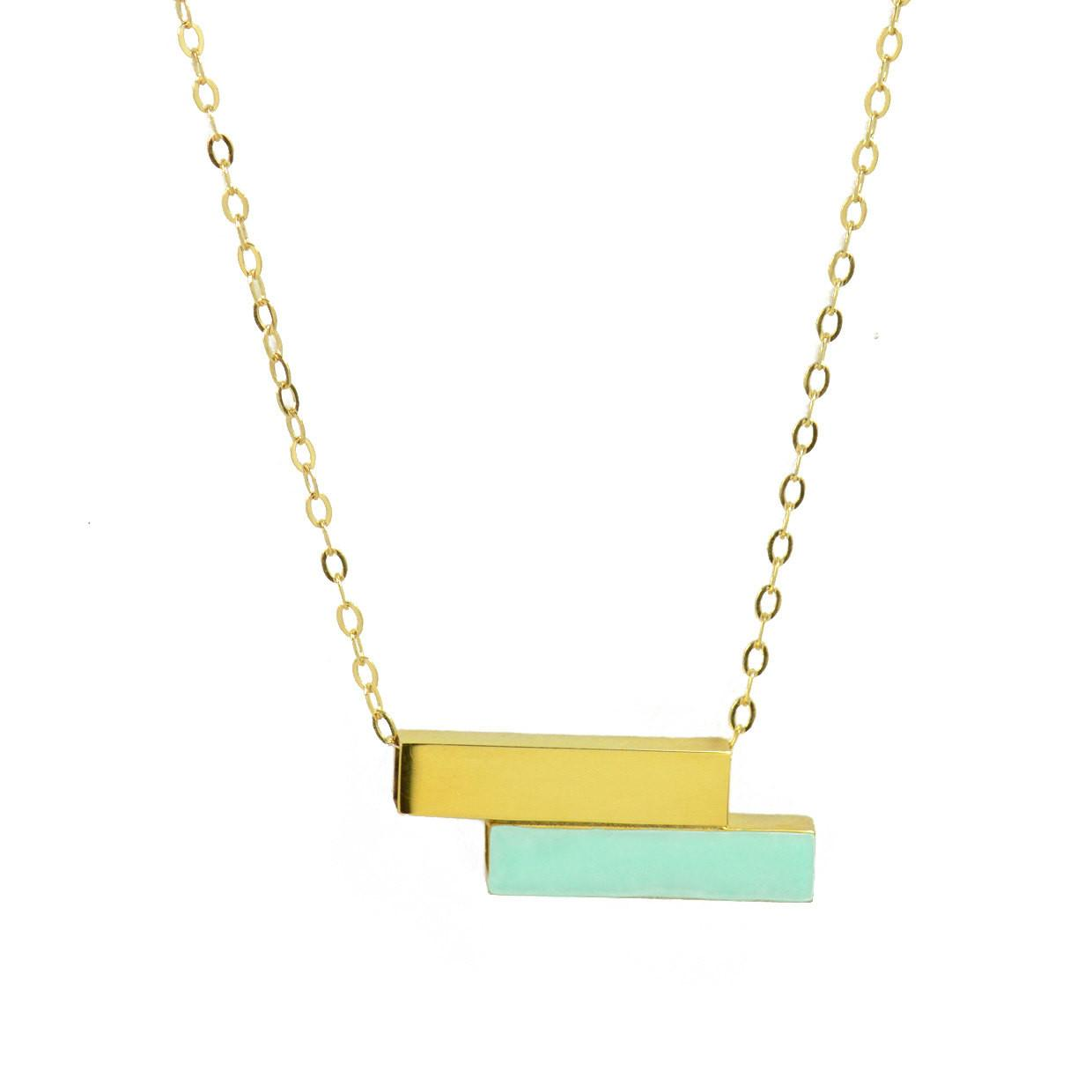 Gold Bar Mint Green Enamel Necklace Minimal Modern