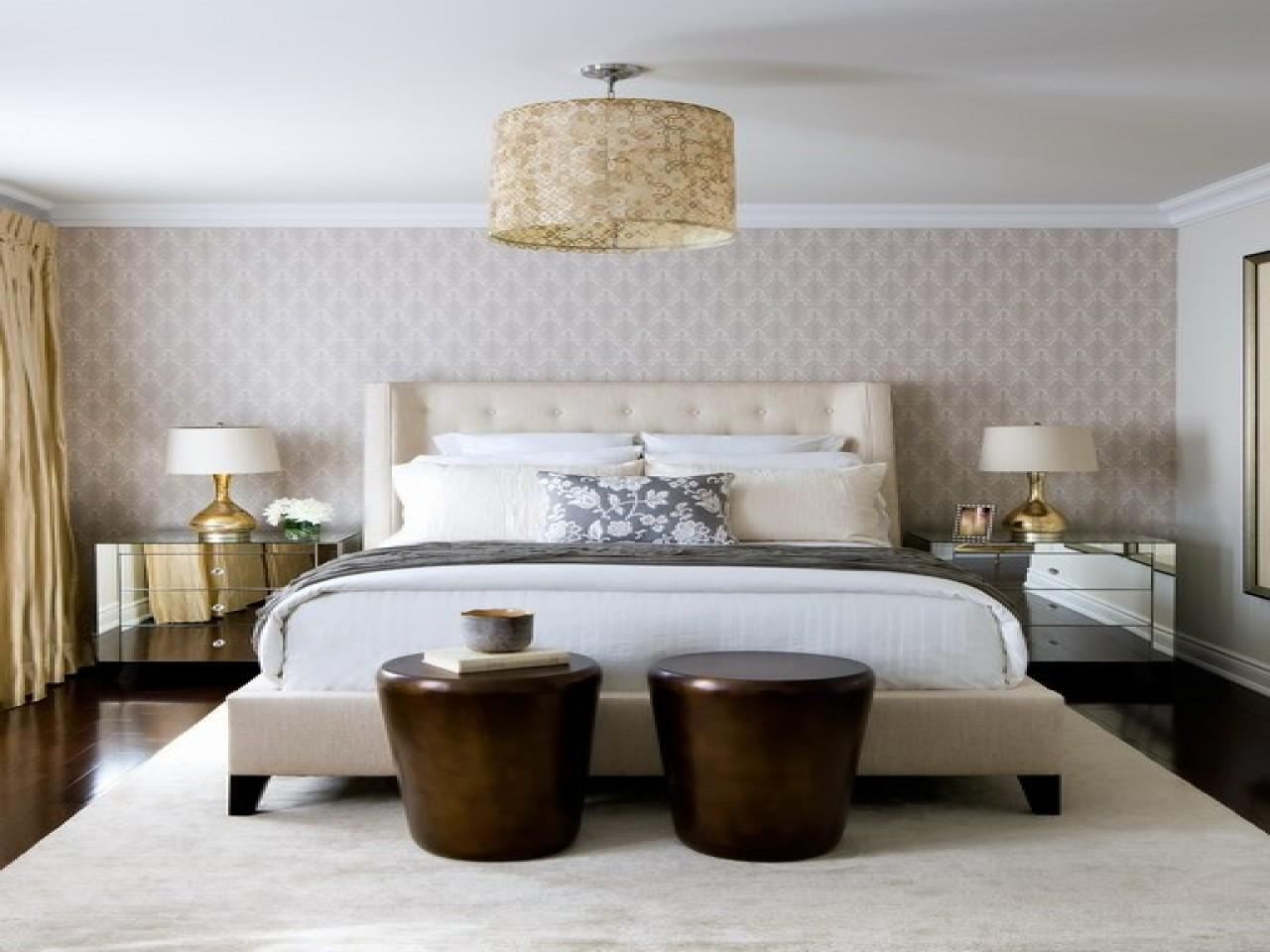 Gold Bedroom Accent Wall Yellow Silk Drapes