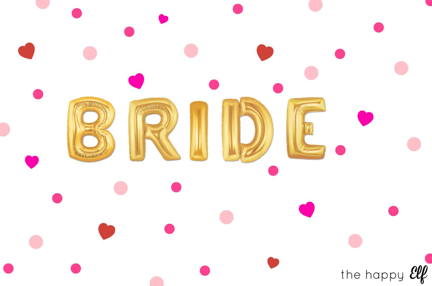 Gold Bride Balloons Banner Engagement