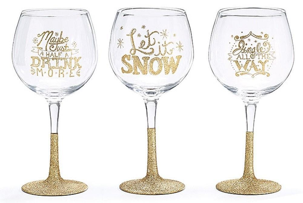 Gold Christmas Wine Glasses Wikii