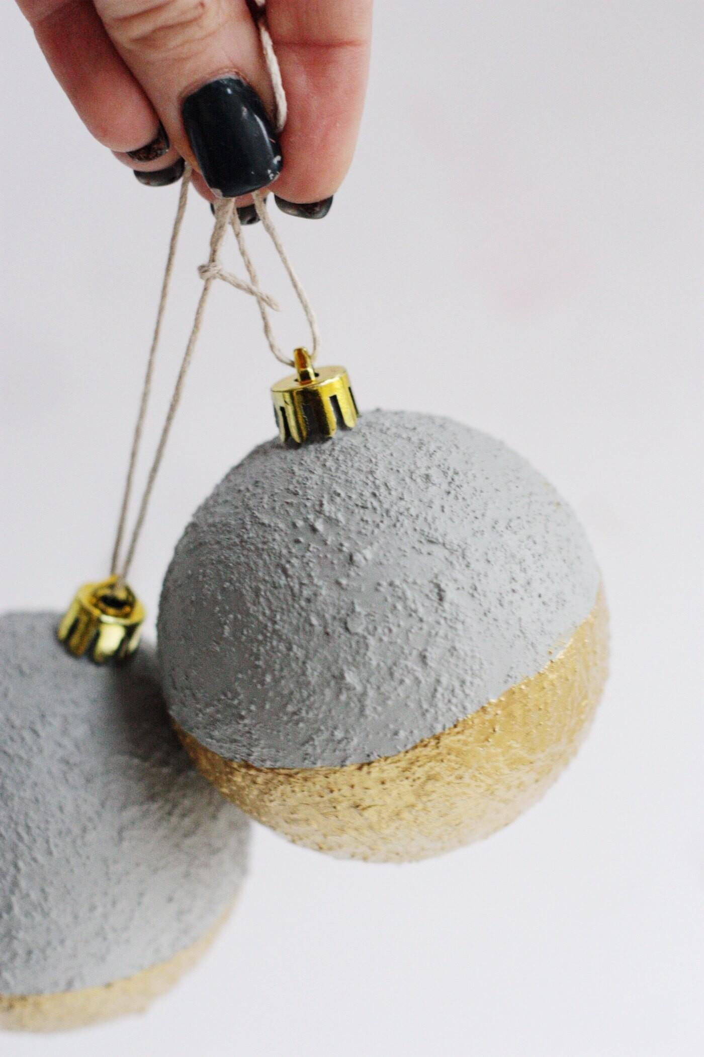 Gold Dipped Faux Concrete Ornaments Diy Candy