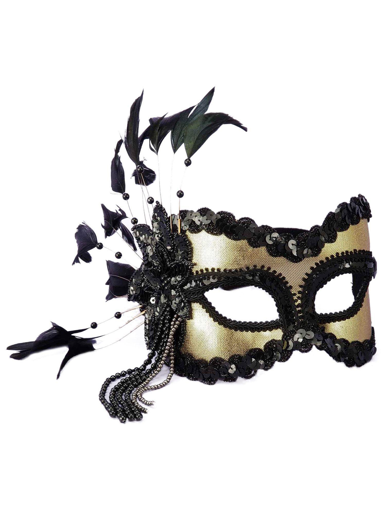 Gold Feather Eye Mask Wholesale Venetian Accessories