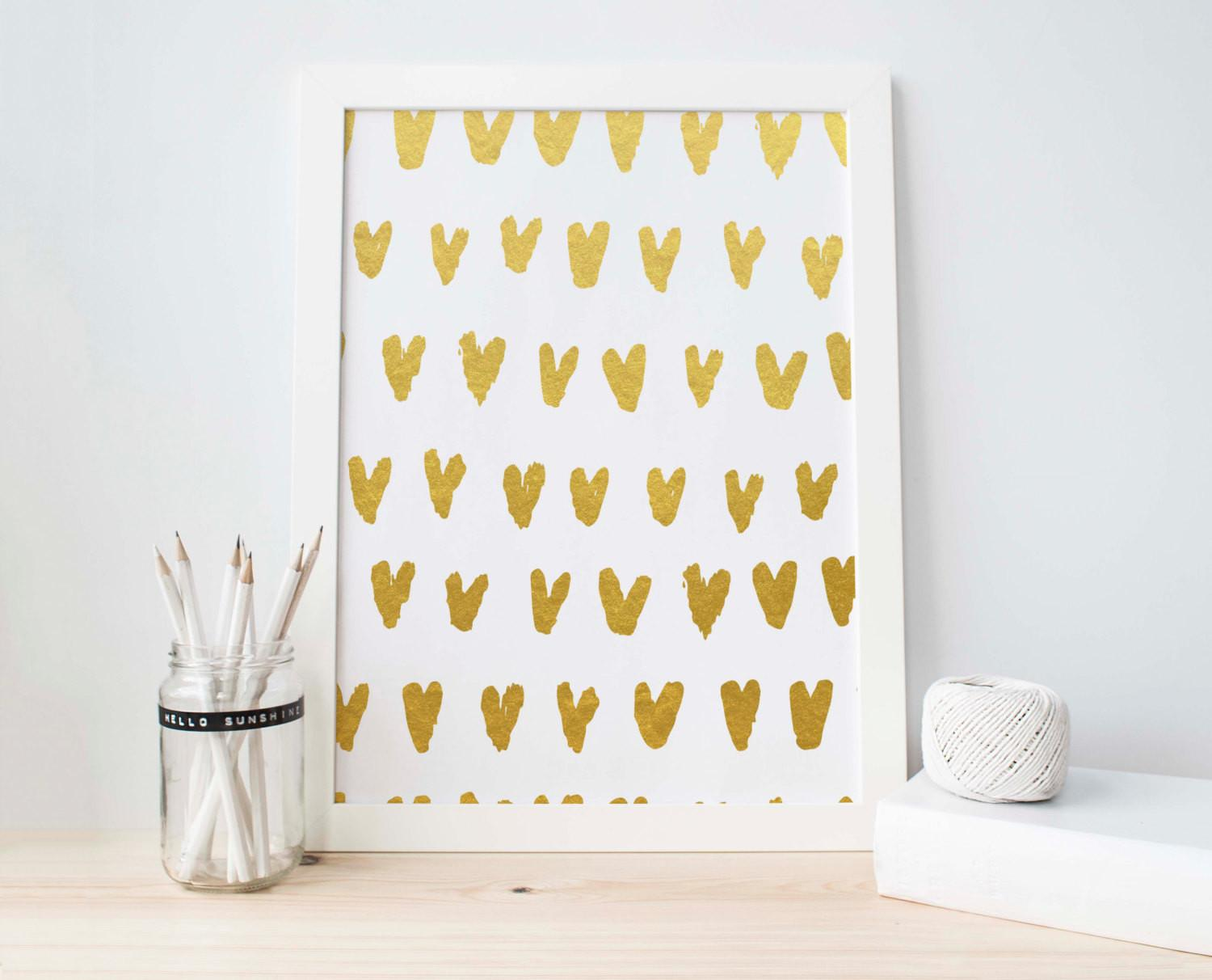 Gold Foil Printable Art Abstract Heart Drop