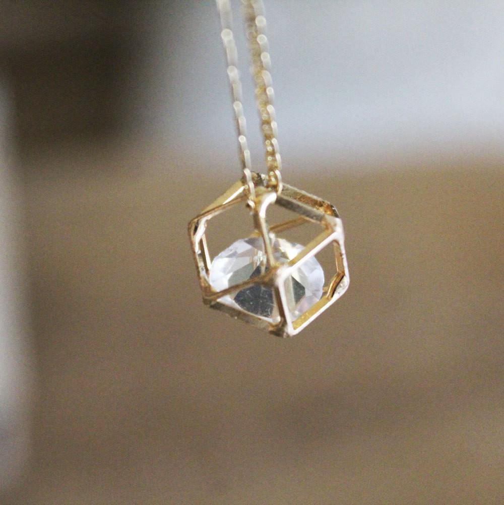 Gold Geometric Necklace Diamond Whimsical