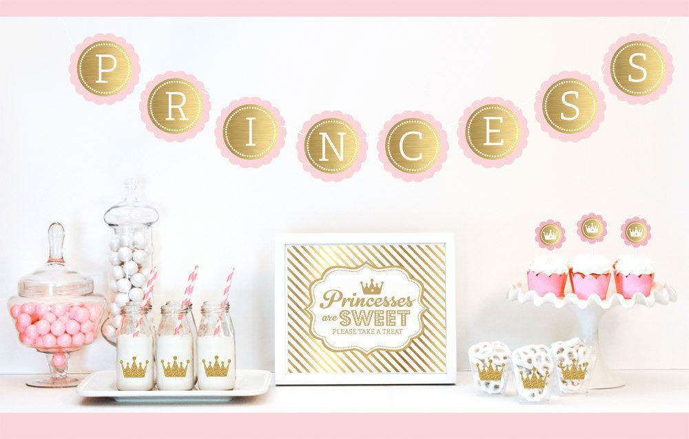 Gold Glitter Pink Princess Party Birthday
