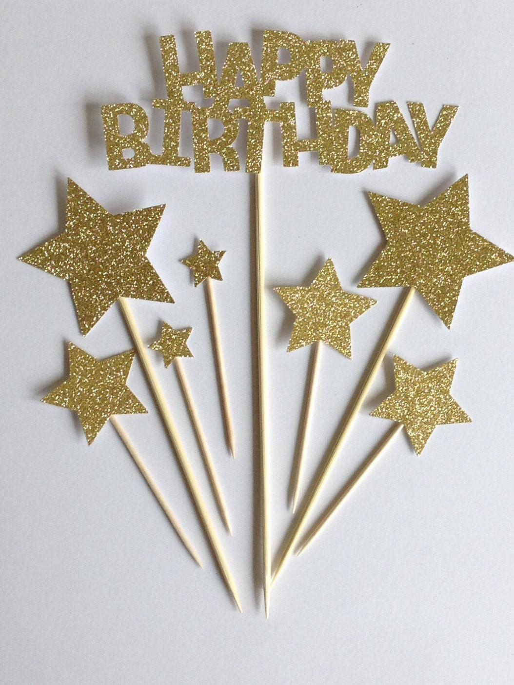 Gold Happy Birthday Cake Toppers Glitter Star