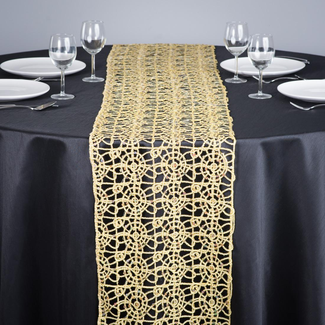 Gold Lace Table Runner Round Wedding Dining